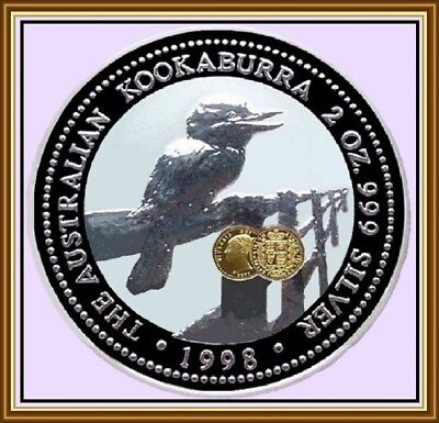 1998, 2oz. Kookaburra,99.9% Silver with GOLD'Shield'Privy Mark,C.of A.& Case.