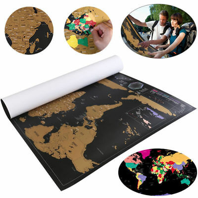 HOT!Scratch Off Deluxe World Map Poster Personalized Travel Vacation Log Gift