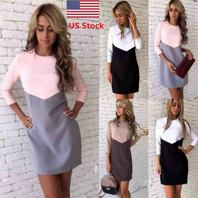US New Women's Long Sleeve Slim Fit Color Block Casual Evening Party Mini Dress