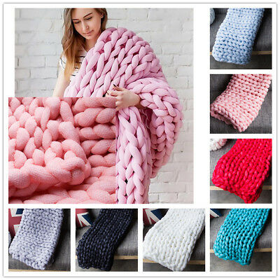 AU New Soft Warm Hand Chunky Knitted Sofa Blanket Bed Thick Yarn Bulky Throw Mat