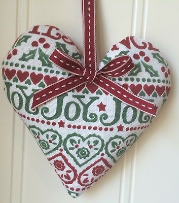 CHRISTMAS HEART Emma Bridgewater JOY fabric Red or Linen Ribbon
