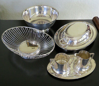 Lot of 7 Vintage Gorham Mulholland EPNS Yeoman Silver Plate Covered Serving Bowl