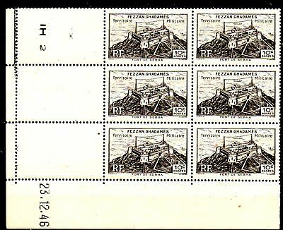 1 Block Of 6 Stamps From The French Colony Libya Fezzan Ghadames 1946.