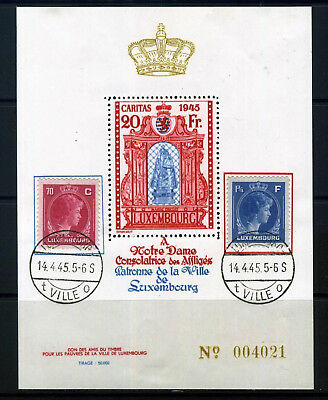 LUXEMBOURG 1945 20f MINI SHEET DATED 14.04.45 with 2 x CHARLOTTE FRANKED
