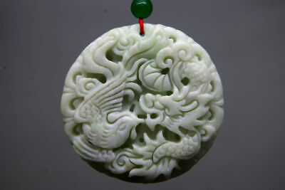 Chinese natural white Jade Carved Dragon phoenix jade Pendant NR