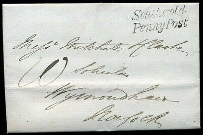 SUFFOLK: *Southwold/Penny Post* in black 1838 Entire to Norfolk
