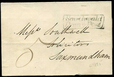 SUFFOLK: *Southwold/Penny Post* c1835 Entire to Saxmundham
