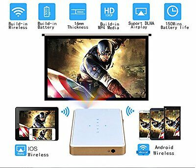 2017 Mini Portable Pico Wireless 1080P Wifi DLP Smart Projector Airplay HDMI USB