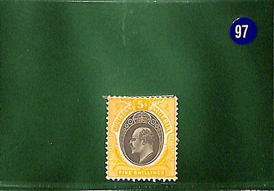 BLUE97 Southern Nigeria 1908 5s high value CHALKY very fresh mint SG.30a cat £85