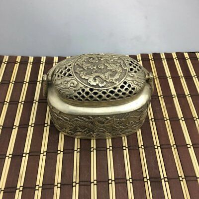 Chinese old cupronickel carving dragon handle incense burner / xuande mark