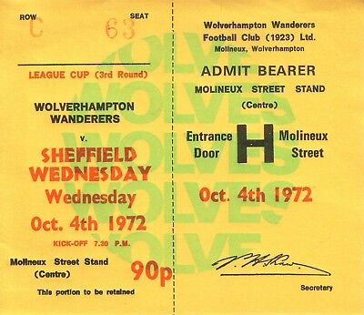 WOLVES v SHEFFIELD WEDNESDAY 1972/73 LEAGUE CUP TICKET