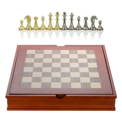 NEW Italfama Walnut & Maple Chess Board with Metal Pieces