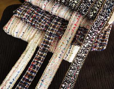Ribbon chenille textured weave tweed ribbon trimming, choice of colours