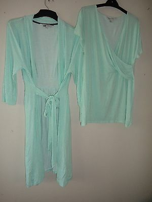 EMERSON maternity sleepwear mint green white spots dressing gown robe & top 12