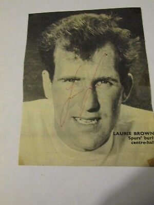 Laurie Brown signed b&w picture Tottenham Hotspur Spurs Arsenal Norwich