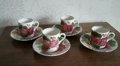 4 Simpsons Potters Cobridge Belle Fiore Solian Ware 1950s Coffee Cans & Saucers