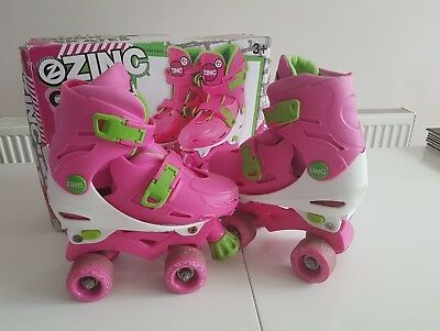Girls Zinc Quad Roller Skates. Adjustable Size 13, 1, 2 and 3.