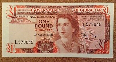 Gibraltar Banknotes. One Pound. Unc. Queens Image