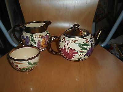 wade luster ware teapot,sugar bowl and cream/milk