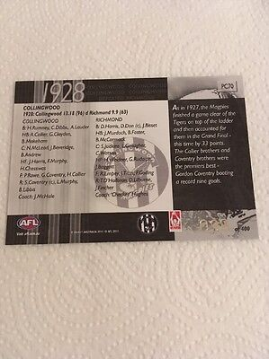 2011 AFL Select Infinity Premiership Commemorative Card - PC70 - Collingwood