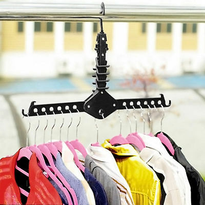 Durable Clothes Hanger Wardrobe Space Saver  Rack Sturdy Black Hook NEW