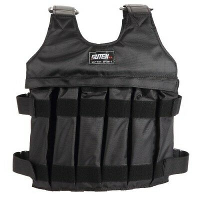 Durable 50kg Black Training Jacket Adjustable Loading Weighted Thickening Vest