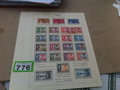 Gambia George VI 1938 set to 10/- + 1 1/2d shades Coronation & Victory 776