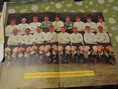 1964/65 Tottenham Hotspur Spurs large colour team picture signed by 4 players