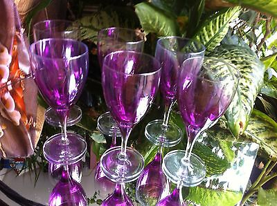 Large Rare Vintage Glass Murano Wine Glasses Deco Art Pink Serving Dining -set 6