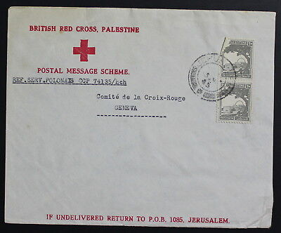 Palestine, Jerusalem, Switzerland, 1945, Red Cross, Cover #a1719