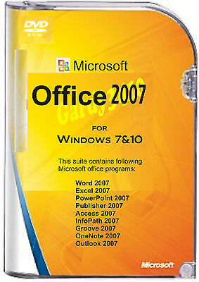 MICROSOFT OFFICE 2007 FOR WINDOWS 7 & 10  (Word,Excel, Powerpoint, etc)
