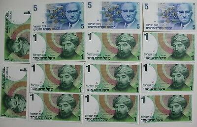 Israel Collection of  1 & 5 NIS Bank Notes, All  14 are UNC Condition  #a1799