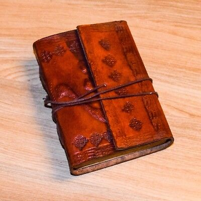 Genuine Leather HandTool Emboss Vintage Diary Notebook With leather Thread 3x5