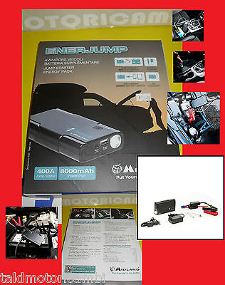 ENERJUMP Midland Booster avviatore per auto moto scooter power bank cell tablet