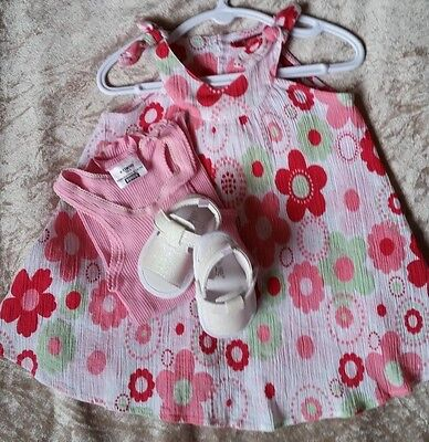 Cute Baby Girls SPROUT dress - Little Me pram shoes-summer mixed lot. Size 0