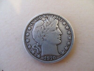 1910 Barber Half Dollar Very Fine to Possibly Extra Fine Liberty Head US Coin