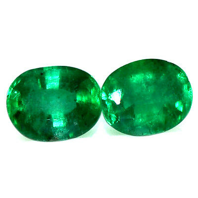 1.18 Cts Natural Fine 6x5 mm Rich Green Emerald Oval Cut Pair Untreated Zambia