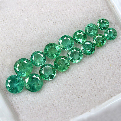 6.28 Cts Natural 3.7 upto 5.7 mm Emerald Round Cut 15 Pcs Lot Untreated Zambia $