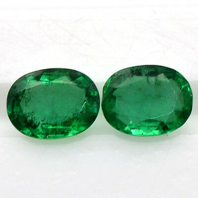 1.05 Cts Natural Fine 6x5 mm Rich Green Emerald Oval Cut Pair Untreated Zambia