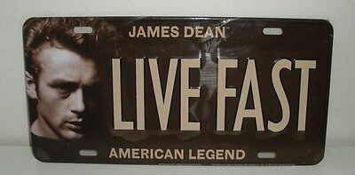 James Dean,American Legend, LIVE FAST ,Tin License Plate