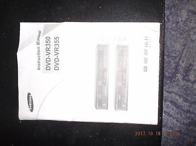 Manual operating instructions for samsung dvd vhs combi dvd-VR350/355