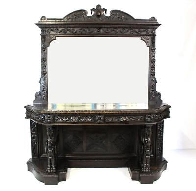 Antique Oak Mirrored Sideboard - Supported on Large Carved Mythical Creatures