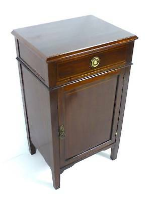 Antique Edwardian Inlaid Mahogany Bedside or Pot Cupboard Cabinet