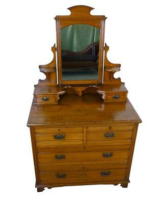 Antique Arts & Crafts Satin Walnut Dressing Chest with Mirror