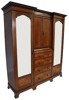 Antique Inlaid Arts and Crafts Triple Wardrobe