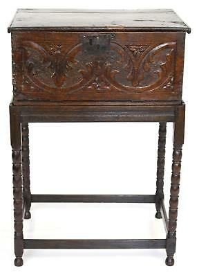 Antique 17/18thC Carved Oak Bible Box on Stand