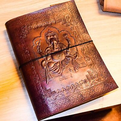 Genuine Leather HandTool Emboss Vintage Diary Notebook With leather Thread D04