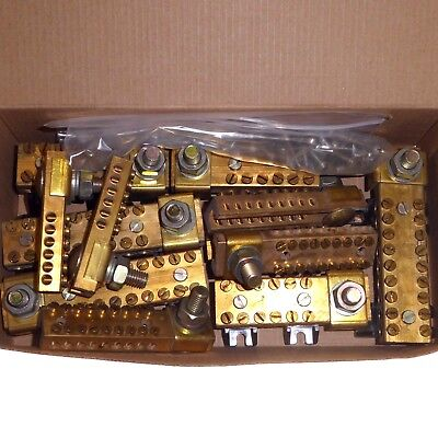 Joblot of brass terminal connector blocks wire joints for distribution boards