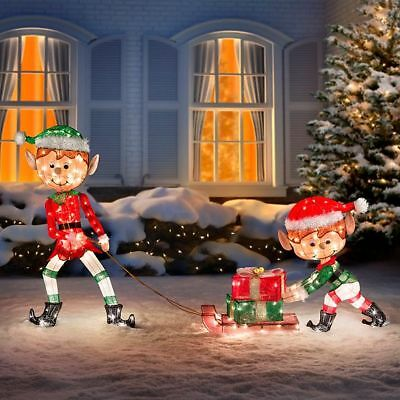 Outdoor Lighted Tinsel 3 Piece Christmas Elves Pulling Sleigh Display Yard Decor