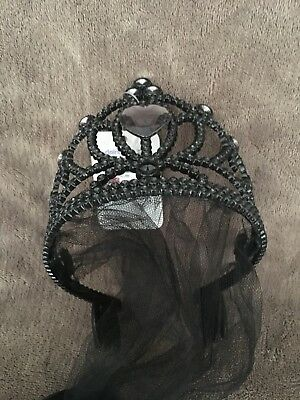 Ladies/girls Halloween **corpse Bride** Tiara With Veil And Gemstones Bnwt
